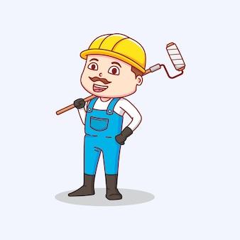 ペイントツールを運ぶ建設労働者