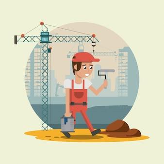 Construction worker cartoons