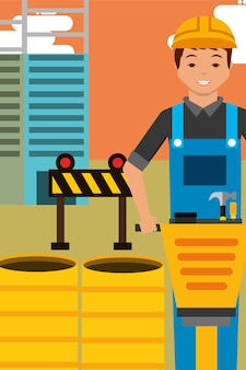 Construction worker character and jackhammer barrels and barier equipment