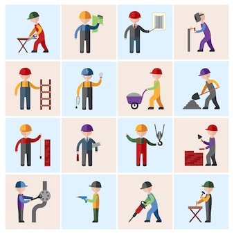 Construction worker characters flat