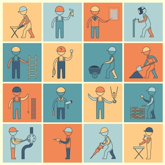 Construction worker characters icon flat line