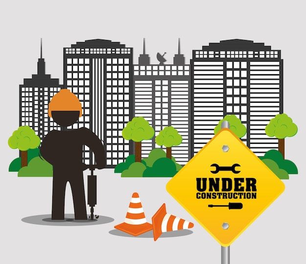Under construction worker city road cone building and trees
