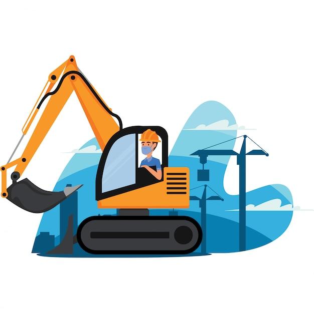 의료 마스크를 사용하는 동안 건설 차량을 제어하는 건설 노동자
