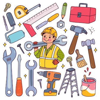 Construction worker equipment set in doodle style