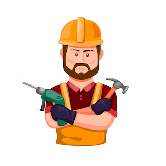 Construction worker holding drill and hammer in hand. professional builder with work tool character figure in cartoon illustration   on white background