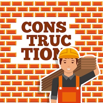 Construction worker holding wooden board wall brick