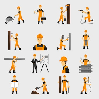 Construction worker icons flat