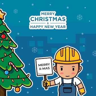 Строительный рабочий в рождество