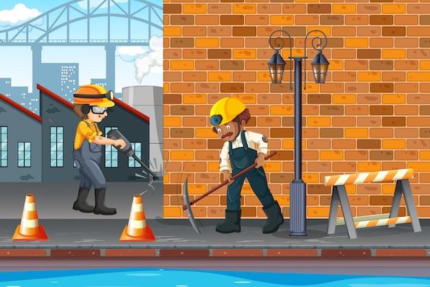 마을에서 건설 노동자