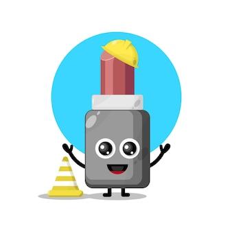 建設作業員の口紅かわいいキャラクターマスコット