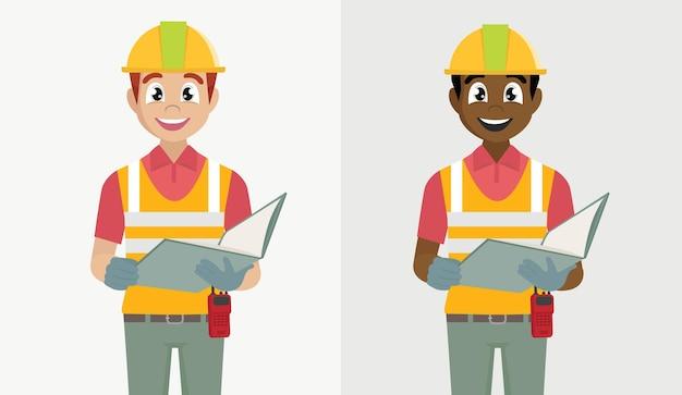 보호 안전 헬멧을 착용하는 건설 노동자 남자