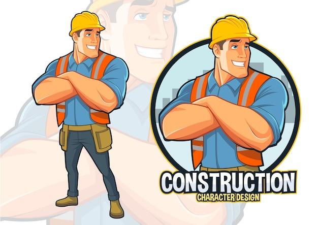 Дизайн талисмана рабочего-строителя