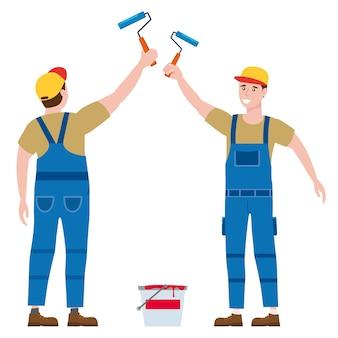 作業服のローラーブラシとペイントバケツを持つ建設労働者の画家。背面図と正面図の職人のキャラクター