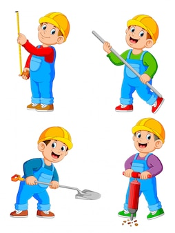Construction worker people cartoon character in various action