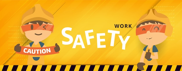 Construction worker repairman banner