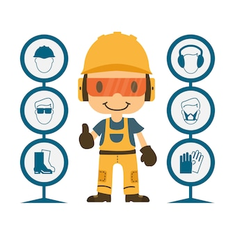 Construction worker repairman thumb up, safety first, health and safety warning signs