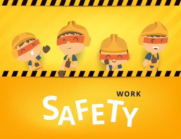 Construction worker repairman with big signboard, safety first, health and safety, illustrator