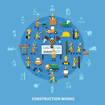 Construction worker round composition background