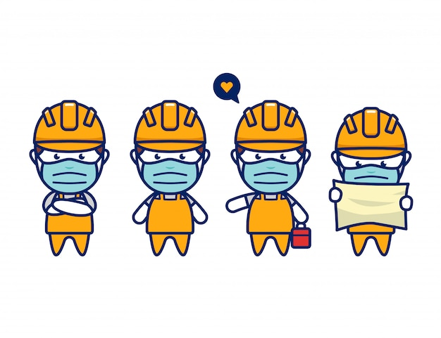 Construction worker set with face mask protection in cute chibi style