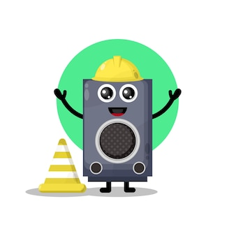 Construction worker speaker cute character mascot