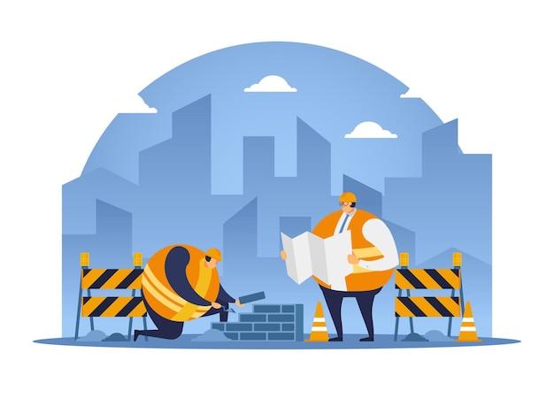 건축가의 지시를 듣는 동안 건설 노동자가 벽돌을 쌓습니다. 건설 노동자 평면 디자인입니다.