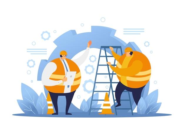 건축가와 이야기 하는 건설 노동자. 건설 노동자 평면 디자인입니다.