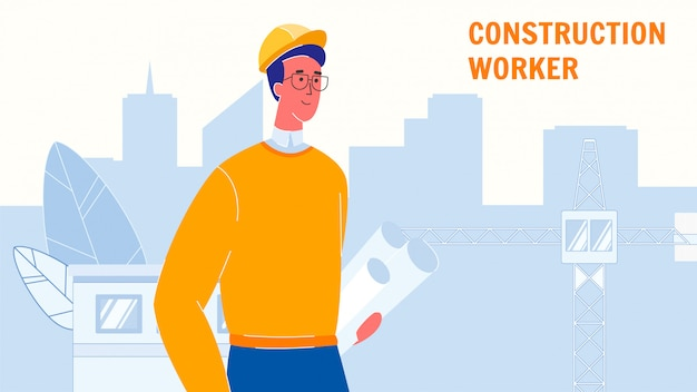 Construction worker vector web banner template