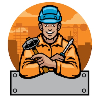 Construction worker with blank text space