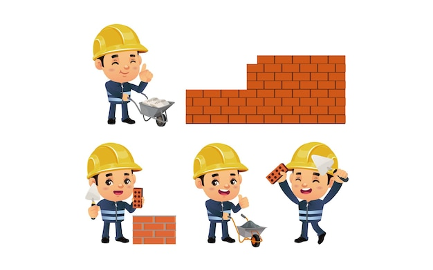ポーズの異なる建設作業員