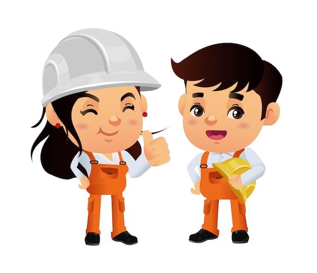 다른 포즈와 건설 노동자