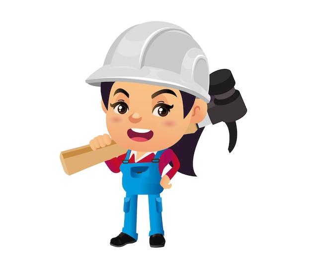 さまざまなポーズの建設労働者