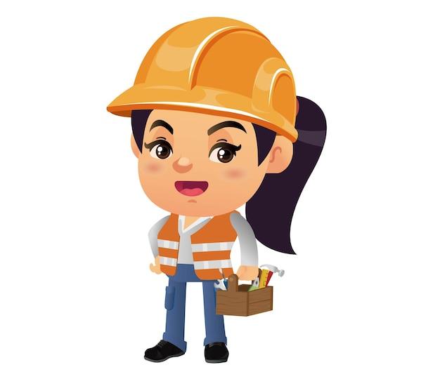 다른 포즈의 건설 노동자