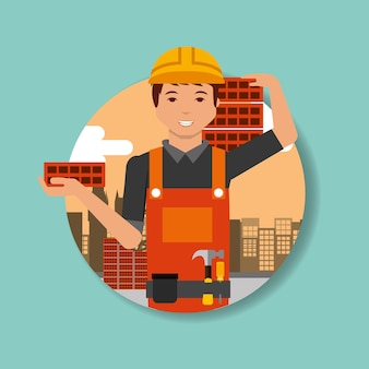 Construction worker with hat hard holding bricks