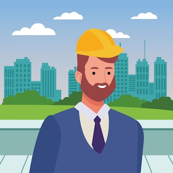 Construction worker with helmet and beard face cartoon