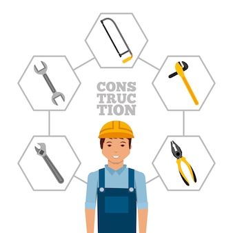Construction worker with helmet and tools