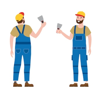 Construction worker with plastering trowel tool in workwear. back and front view craftsman character