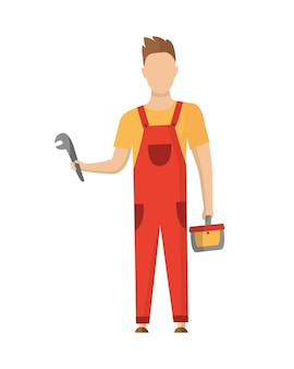 Строитель с профессиональным оборудованием во время строительной деятельности