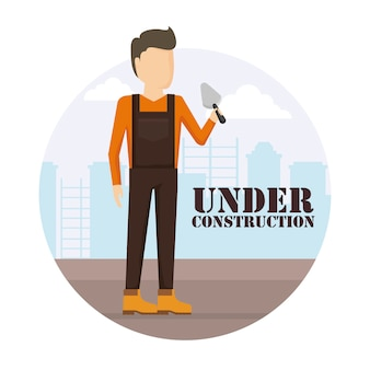 Construction worker with spatule
