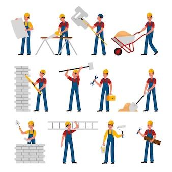 건설업 노동자들. 헬멧과 유니폼을 입은 만화 빌더는 건설 도구 톱, 망치와 흙손, 삽과 사다리, 건물 및 개조 주택 플랫 벡터 캐릭터 컬렉션으로 작업합니다.