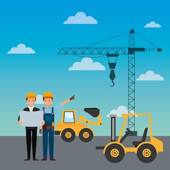 Construction workers engineer foreman truck forklift excavator crane