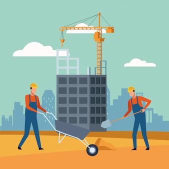 工事風景の下に建設労働者