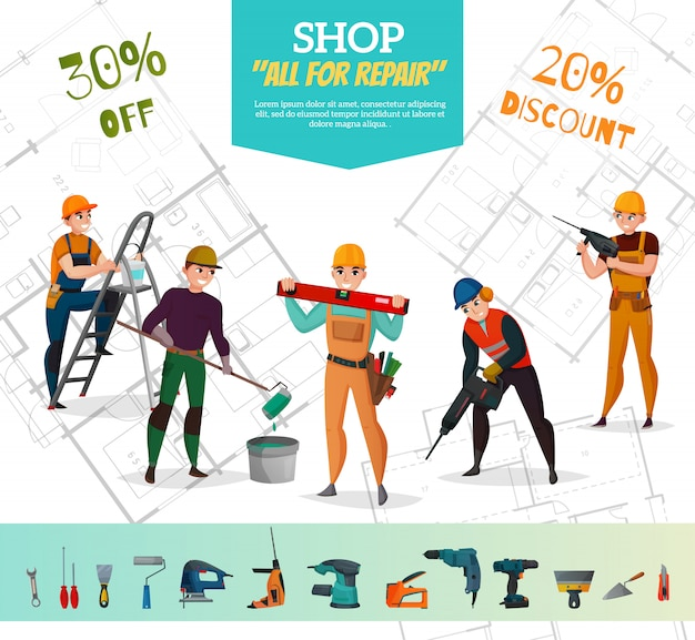 Construction workers sale banner
