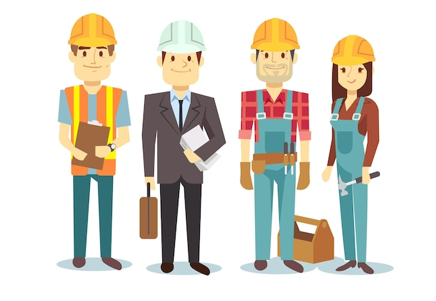 Construction workers team vector builder characters group