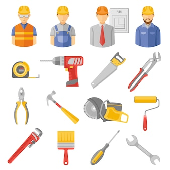 Construction workers tools flat icons set