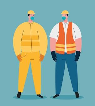 Covid 19 전염병 동안 의료 마스크를 사용하는 건설 노동자