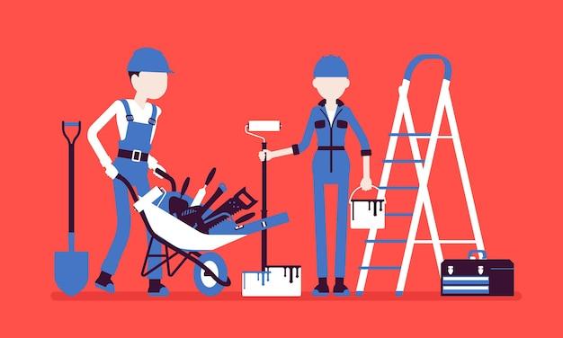 Строители с профессиональным оборудованием. рабочие мужского и женского пола в форменной одежде, занятые на строительстве, ремонте, занимаются физическим трудом, производством физического труда. векторная иллюстрация, безликие персонажи