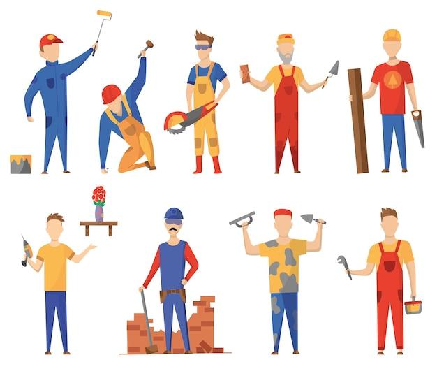 Строительные рабочие с профессиональным оборудованием Premium векторы
