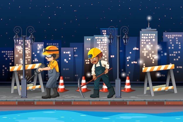Construction working at night