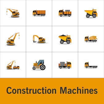 Constructions machines icons set vector