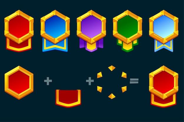 Нагрудный значок конструктора за игровые ресурсы, пустой медальон с лентой для пользовательского интерфейса. векторные иллюстрации набор шаблонов золотых эмблем и деталей для создания.